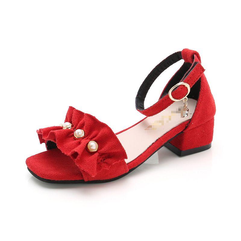 Fashion Perles Fleurs Enfants Chaussures Heel Chaussures Filles Sandales Sandales Enfants Summer Sandales pour Big Girls 3 4 5 6 8 9 10 11 12 ans