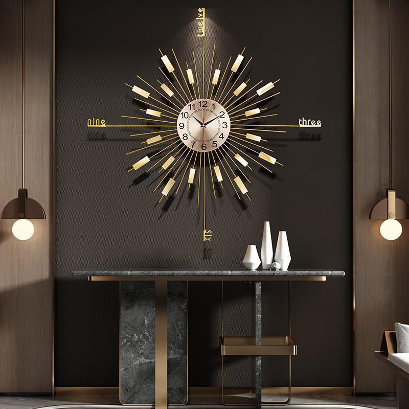 Personalidad de lujo nórdico Reloj de pared Mute Sala de estar de fondo de pared Relojes colgantes de moda Accesorios de decoración del hogar