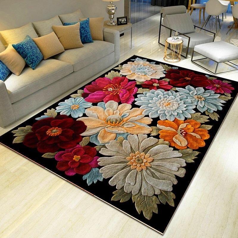3D Flower tapetes de corredor Capacho Sala de estar Ocean Room Tapetes Crianças Sala Cozinha Escadas Tapete Anti-skid Hotel Corredor Mats