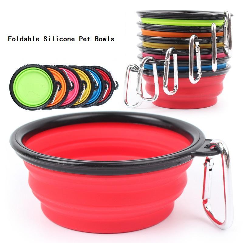 Faltbare Hundeschüsseln Reise-zusammenklappbare Katze-Feeder Silikon-Haustier-Wasser-Teller