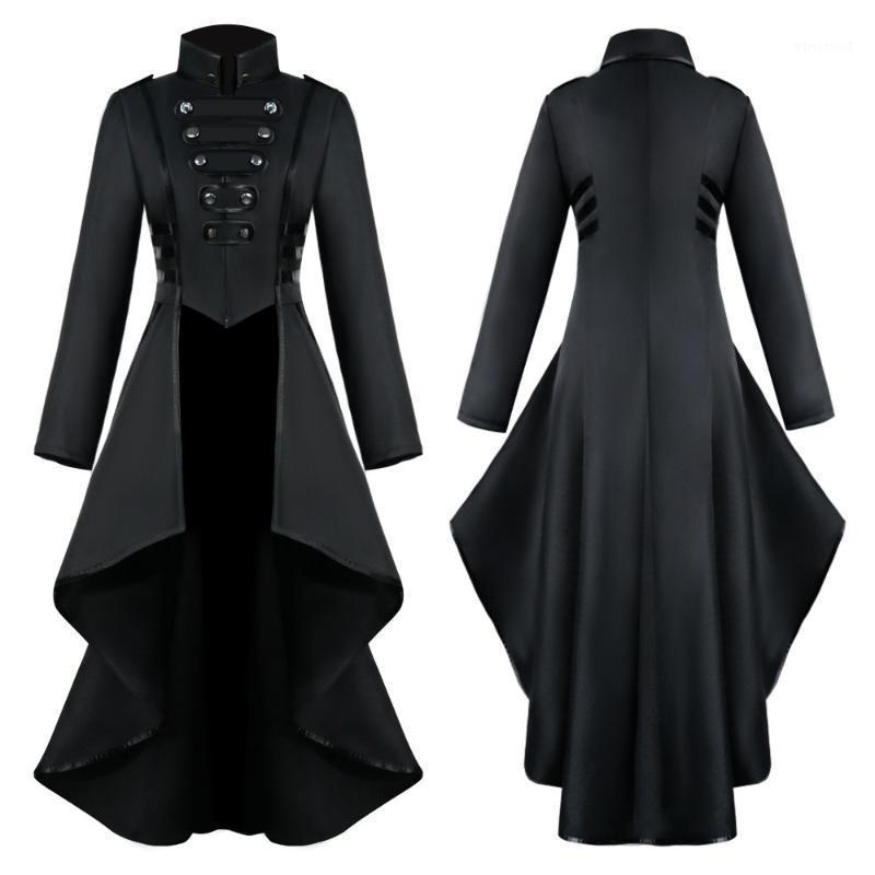 Inverno Autunno Cappotti Giacca Giacca Donne Gothic Steampunk Button Pizzo Halloween Tailcoat Belt Belt Belt Lace-up Casual sucoats casual # 8121