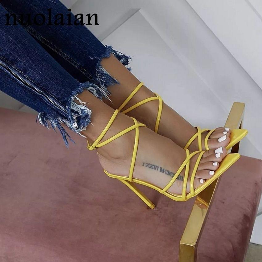 Kadın Yaz Sandal Ayakkabı Bayan Gelinlik Ayakkabıları Kadın Deri Sandalet Lady Parti Yüksek topuk ayakkabı Chaussure Kadınlar Peep Toe Y200620 pompaları