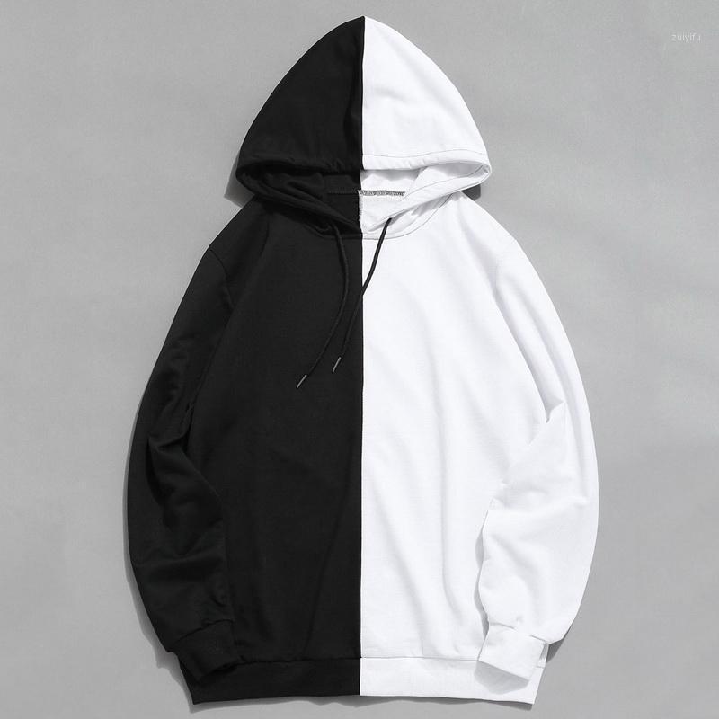 Uzun Kollu erkek Hoodies Hood Yarım Siyah Yarım Beyaz Serin Düz Hoddies Erkekler Patchwork Pamuk Kazak Erkek Hoody Moda Kadınlar1
