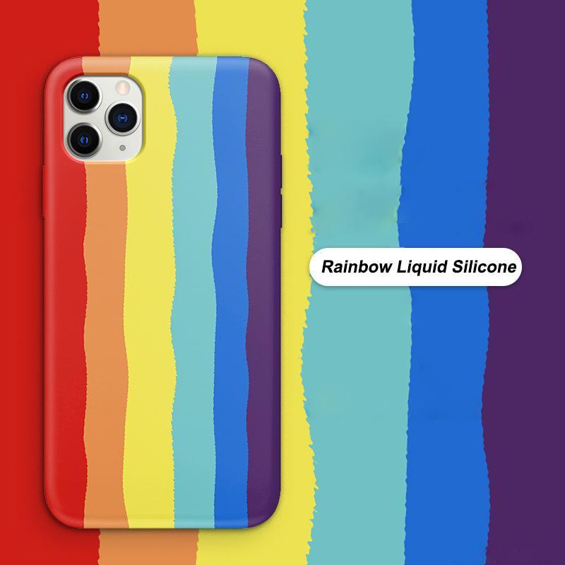 Радуга жидкий силиконовый чехол для iPhone 12 11 Pro Max Mini 7 8 XR X XS MAX Официальный стиль Ударопрочный корпус Полный чехол