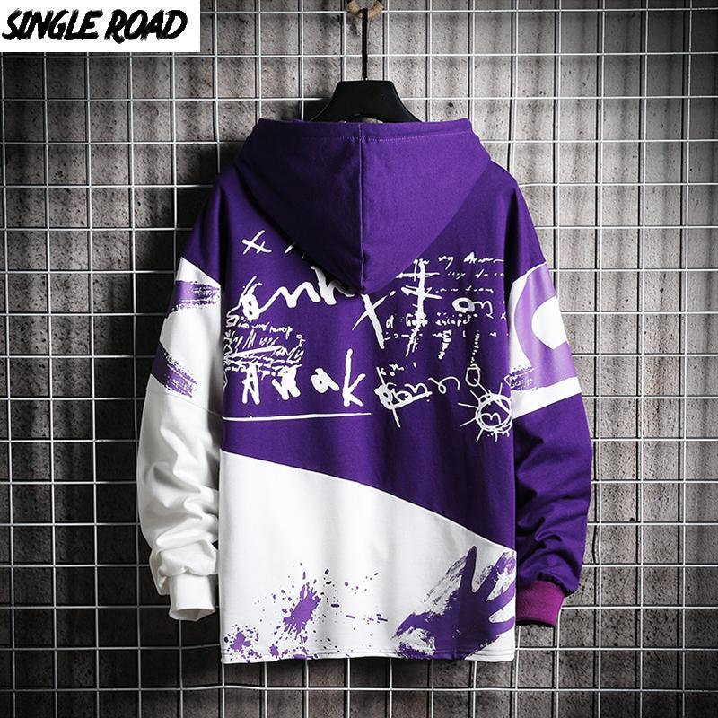 SingleRoad Pulls d'homme surdimensionnée Patchwork Graffiti Harajuku japonais Streetwear Hip Hop pourpre Sweat-shirt à capuche Homme 201007