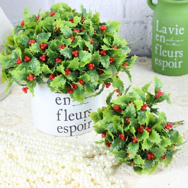 6 шт. / Много искусственных ягод ягоды букет искусственный падуб листья мини-лист открытый гостиная рождественские украшения Y201020