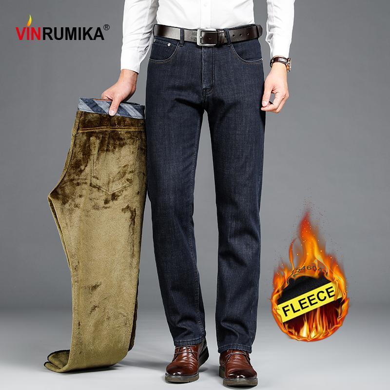 2020 do velo de Inverno Engrosse Média homens com idade Negócios Casual Blue Jeans Jeans Reta Man Cowboy Pant preto soltos calças compridas