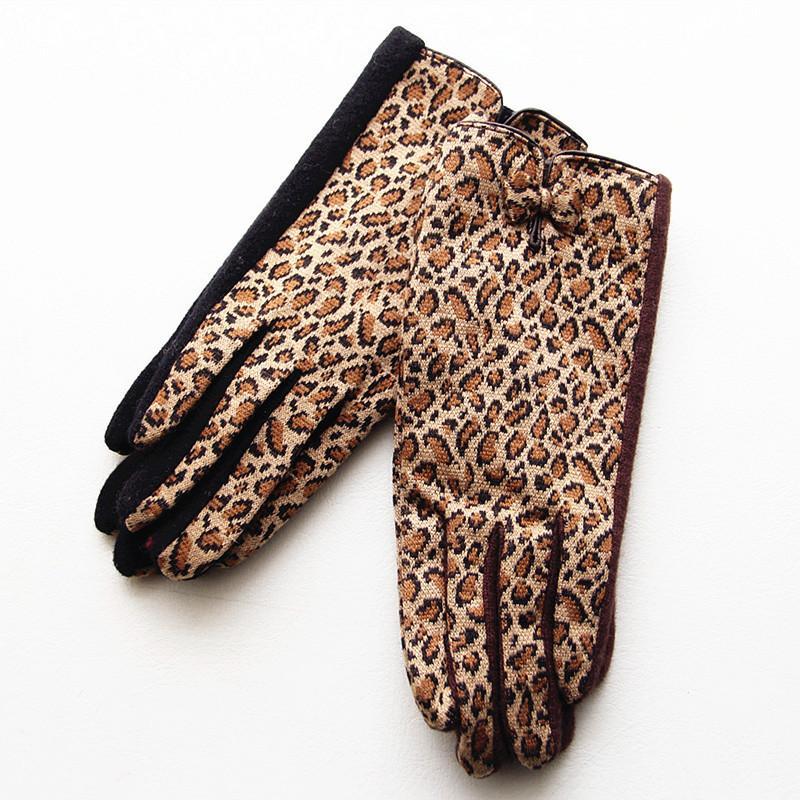 Herbst-Winter Wolle Frauen warme Leopard-Bogendekoration Mode High-End-Atmosphäre treibende Handschuhe D19