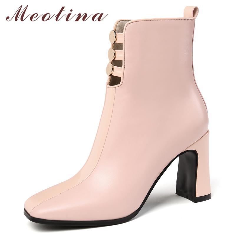 Meotina Kış Ayak Bileği Kadınlar Doğal Hakiki Deri Kalın Yüksek Topuk Kısa Çizmeler Zip Kare To Ayakkabı Lady Sonbahar Boyutu 34-39210