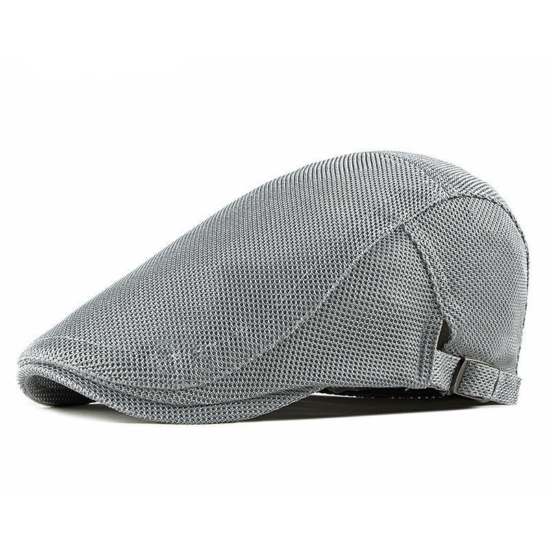 Los casquillos de primavera y verano color sólido de malla de algodón para hombres Newsboy planas Visera Mujeres Pintor Beret Sombreros 14