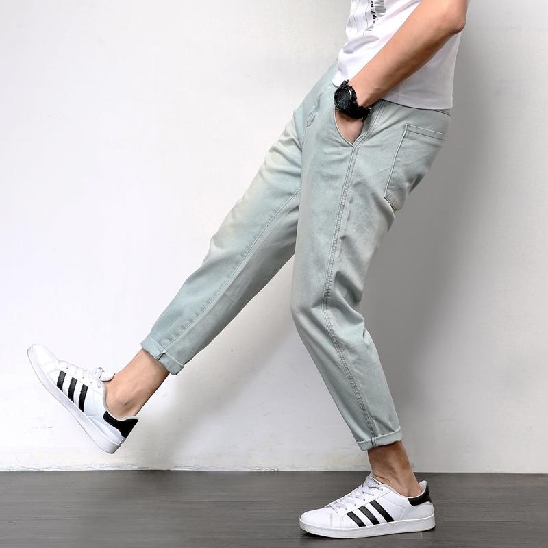 Erkek Kot Gevşek Rahat Joggers Artı Boyutu Hip Hop Harem Denim Pantolon Katı Mavi Kaliteli Pantolon Mavi Kot Erkek Giysiler 201111