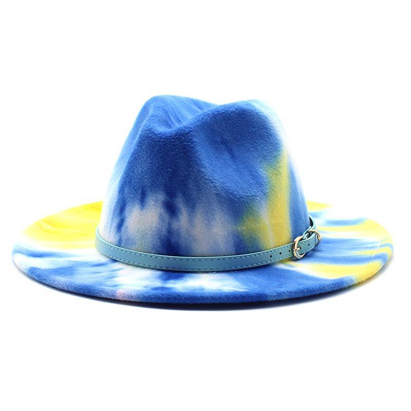 56-58 سنتيمتر التعادل صبغ واسعة بريم فيدورا قبعة النساء الرجال الصوف فيلت الجاز القبعات مع حزام بسيطة كنيسة ديربي أعلى قبعة
