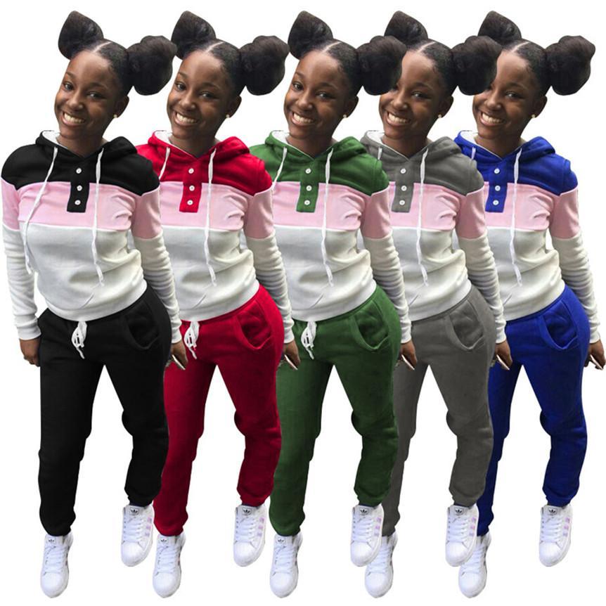 Plus Größe Frauen Dicke Hoodies Sets Kausal Trainingsanzug Täfelte 2 Stück Set Langarm Hemden + Leggings Kontrast Farbe Herbst Winterkleidung 4379