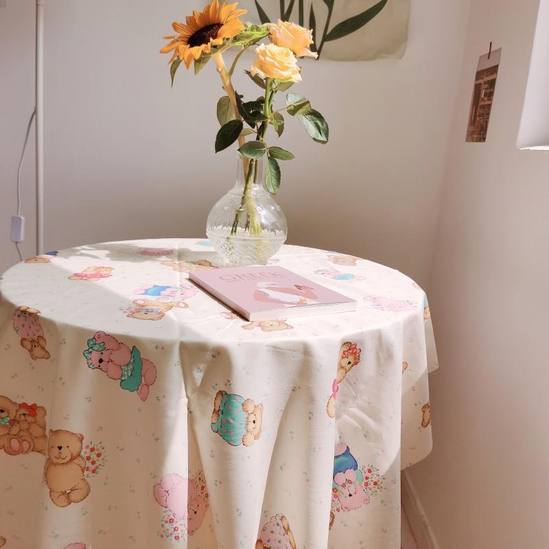 Korean Ins Bear Tablecloth Home Kitchen Table Decor Chic Picnic Cover Backdrops