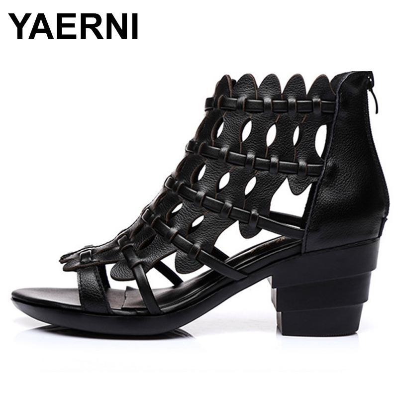 Zapatos de vestir Yaerni2021 Estilo europeo y americano Retro Cuero genuino Tacón grueso Mujer Sandalias Sofá Gladiador Suave Señoras Verano