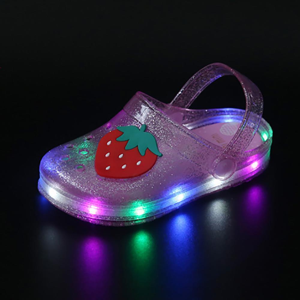 Детские сандалии мальчиков девочек сандалии мультфильм мармелад обувь Hollow светодиодные шлепанцы Мягкие тапочки сандалии малышей Мальчики обувь Gir