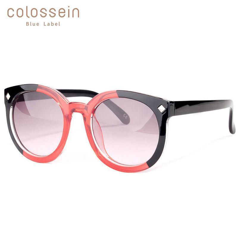 Colossein стиль очки негабаритных женщин привлекательный летний праздник красочные круглые ретро солнце вождения моды солнцезащитные очки UV400 Fiqgx