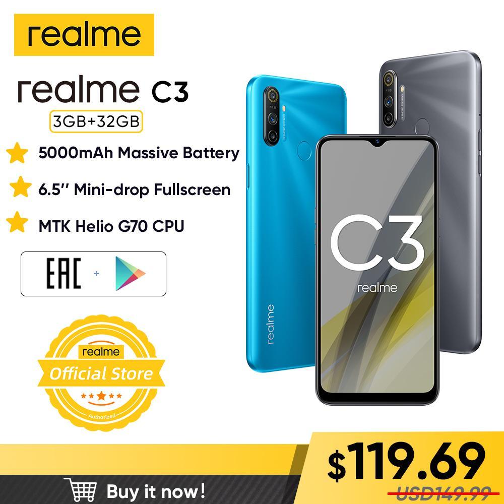 "realme C3 العالمي النسخة 3GB RAM 32GB ROM برو الهاتف MTK هيليو G70 CPU 12MP كاميرا 6.5 ""ميني إسقاط ملء الشاشة 5000mAh بطارية"