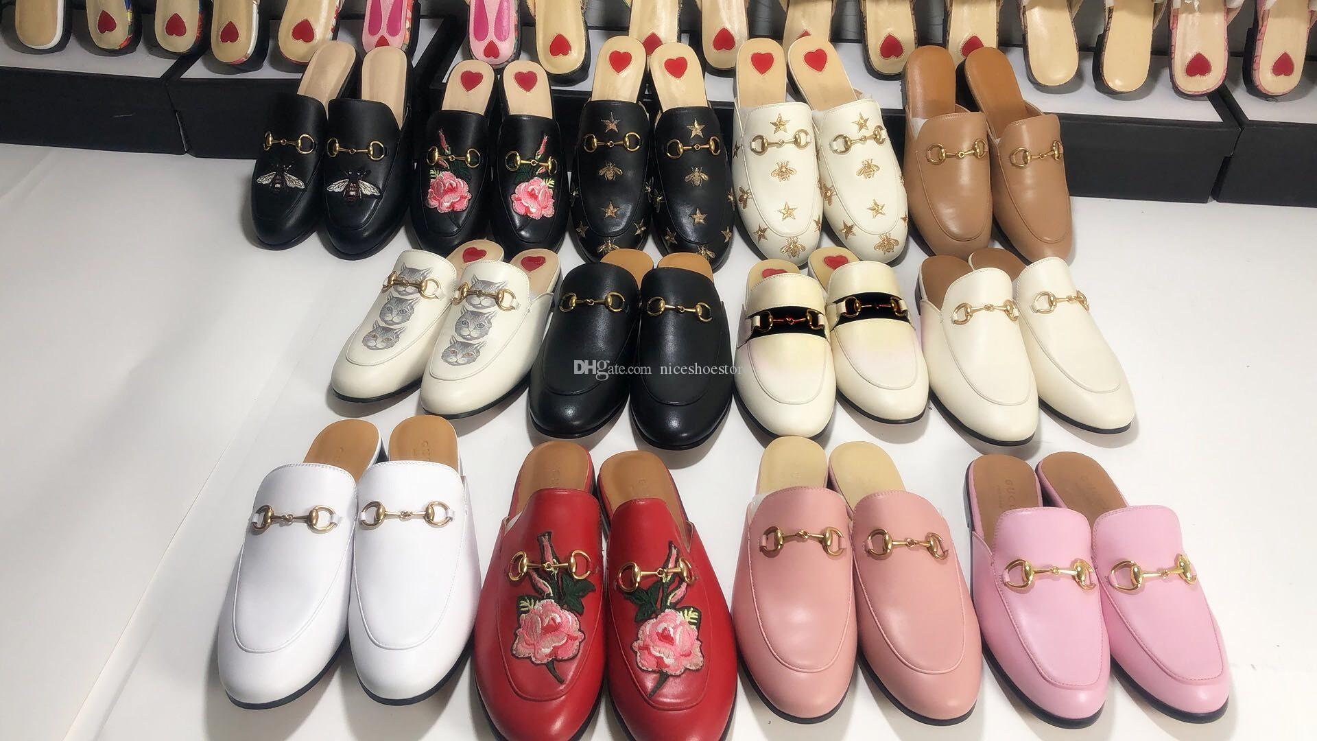 Marka Yeni Varış Sıcak Tasarımcı Haki Kahverengi Deri Katır Pricetown Loafer'lar Erkekler Kadınlar Boyutu Iyi Geribildirim Promosyon Terlik Ayakkabı EUR34-46