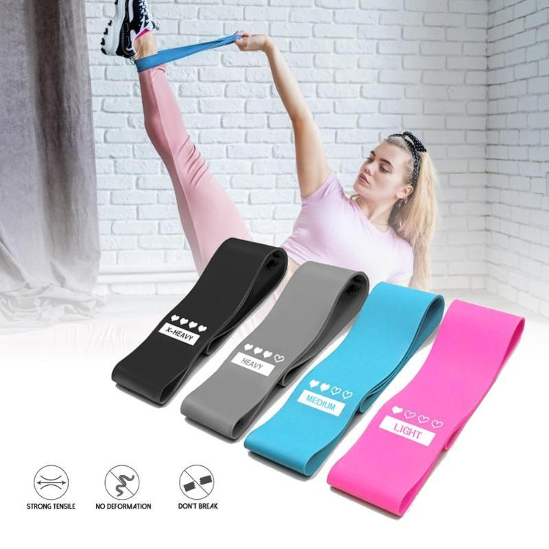 Resistance Bands 4pcs/set Yoga Rubber Stretching Elastic Loop Exercise Fitness Workout Pilates Training Equipments