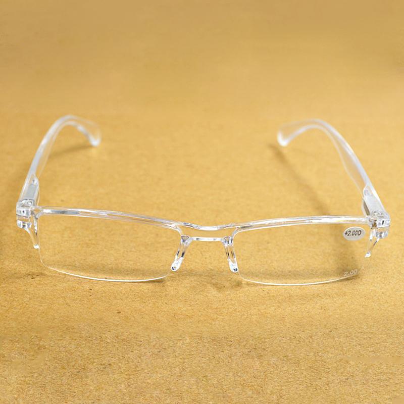 Мужчины Женщина Прозрачной бескаркасной Смола Reading Glasses диоптрии Presbyopia зрелища Gafas де Lectura 2,0 2,5 1,0 3,0 3,5 4,0 016