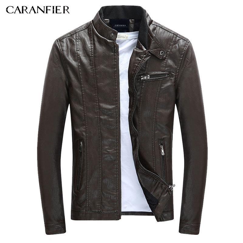 CARANFIER MENS PU Vestes Manteaux Moto Biker Faux Cuir Veste Hommes Automne Hiver Vêtements Mâle Classic Velvet Coat 201119