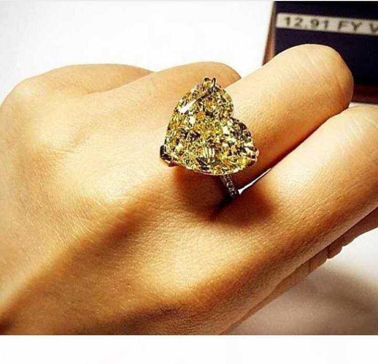 Lusso formato 6 7 8 di monili bianco giallo topazio cuore CZ taglio princess diamanti simulato 20KT oro bianco riempito Regalo di nozze anello di fidanzamento