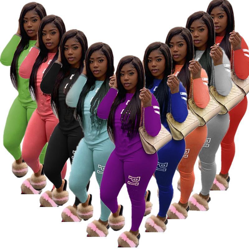 Письмо печати Женщины Tracksuit с длинным рукавом + брюки двухкусочный Set Мода Эпикировка Осень Повседневная поножи Спортивная костюм Одежда 2020