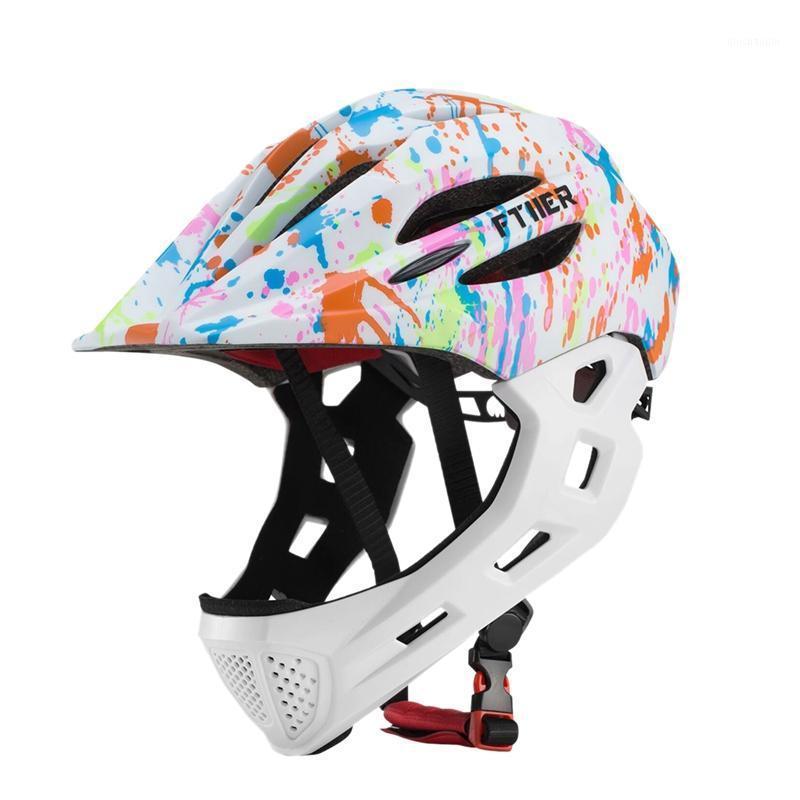 Casque de vélo de vélo Ftiier Kid Kids Casque de vélo Full Face pour Mountain MTB Vélo à vélo de VTT avec LED Arrière Light1