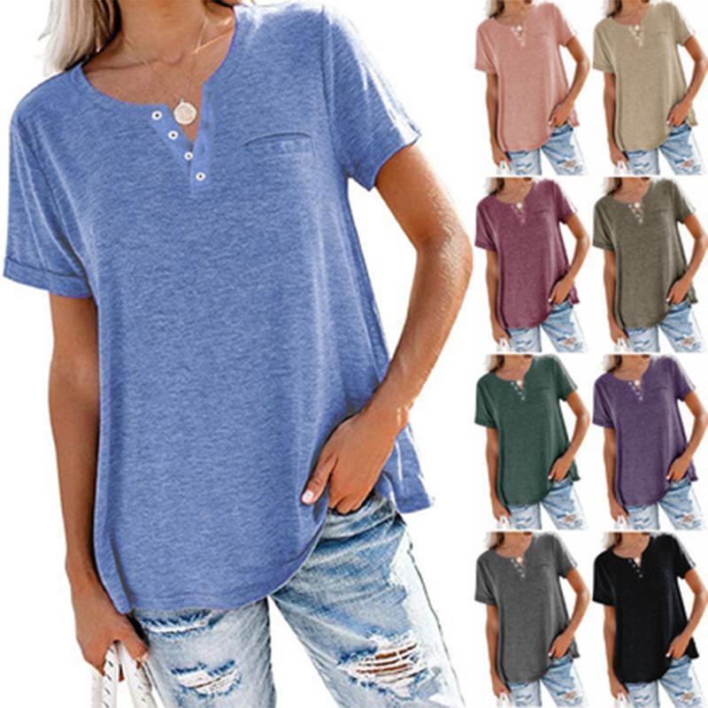 2021 Primavera Verano Venta Caliente Casual Cuello en V Pestidor Sólido Color Solido Punto de manga corta Punto de fondo Top camiseta de las mujeres Camiseta