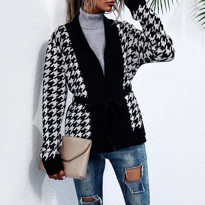 Casual com decote em v houndstooth de malha cardigan mulheres outono inverno manga longa jumper com faixas femininas moda oversize suéter1
