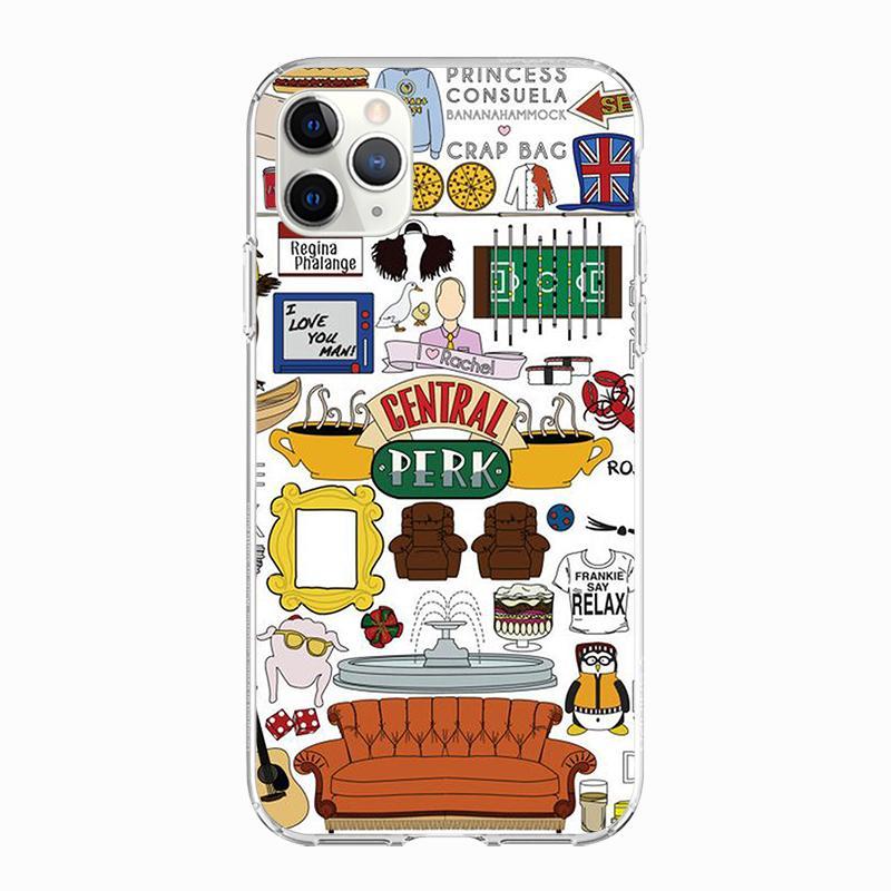 사례를 들어 아이폰 (11) 케이스 아이폰 (11) (12) XR 프로 XS 최대 7 X 8 6 6S 플러스 5S SE 2020 친구 TV 실리콘 TPU Funda 커버를위한