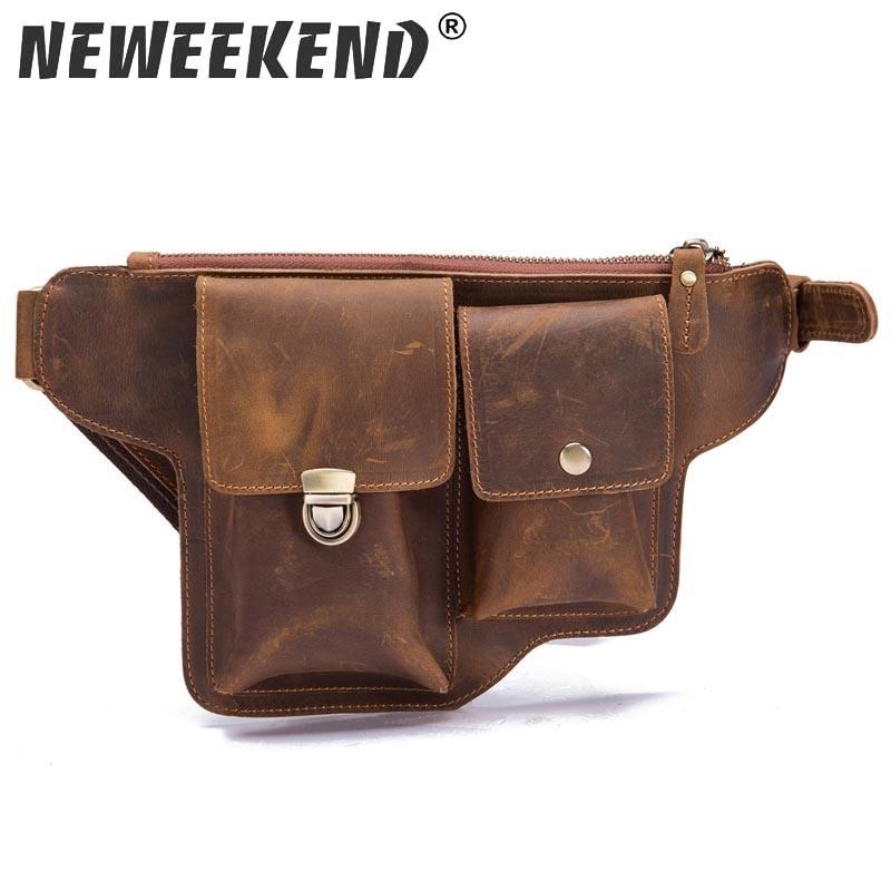 Fou Messenger Cheval en cuir véritable sac à bandoulière hommes Voyage Mototourisme Fanny Sac de taille Sac Cuisse Goutte Leg LJ200930