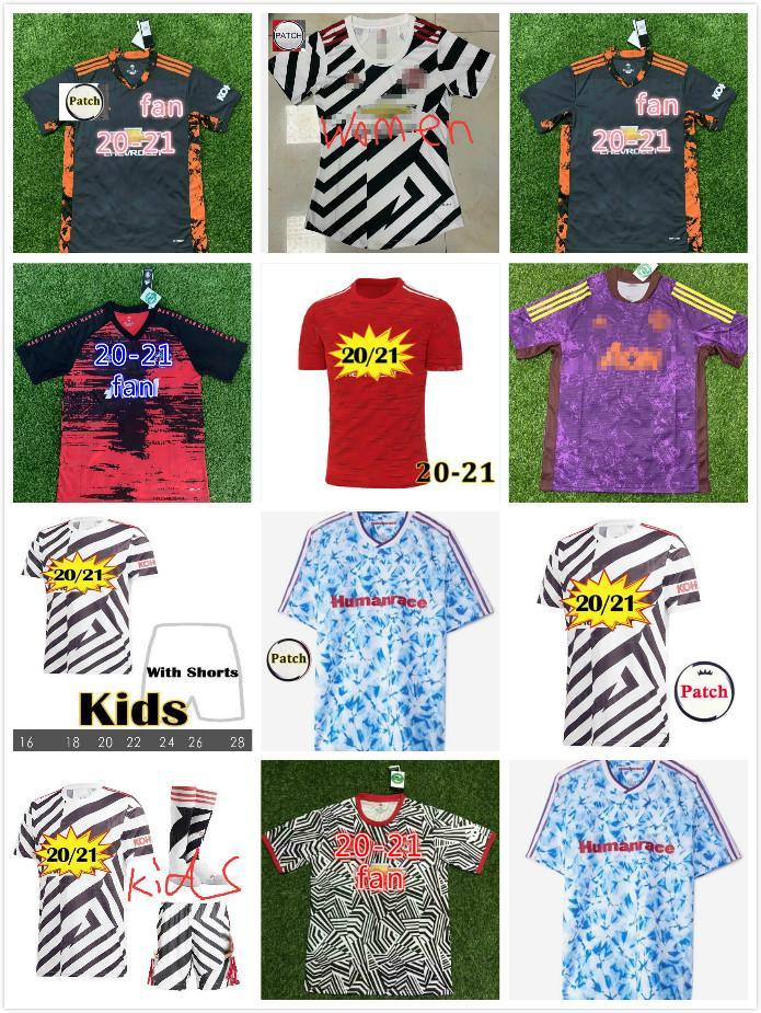 MANCHESTER SOCCER JERSEYS United Fernandes Fans Player Version 20 21 Man Utd Rashford Chemise de football 2020 2021 Kit enfants de Pogba Mens Jersey Kids