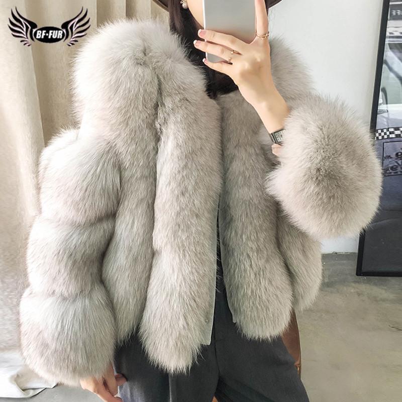 Kadınlar hakiki koyun derisi Doğal Tüm Cilt Fox Kürk Ceket Kadın Kış Pardesü Lüks Kürk Coats201016 için BFFUR Gerçek Fox Kürk