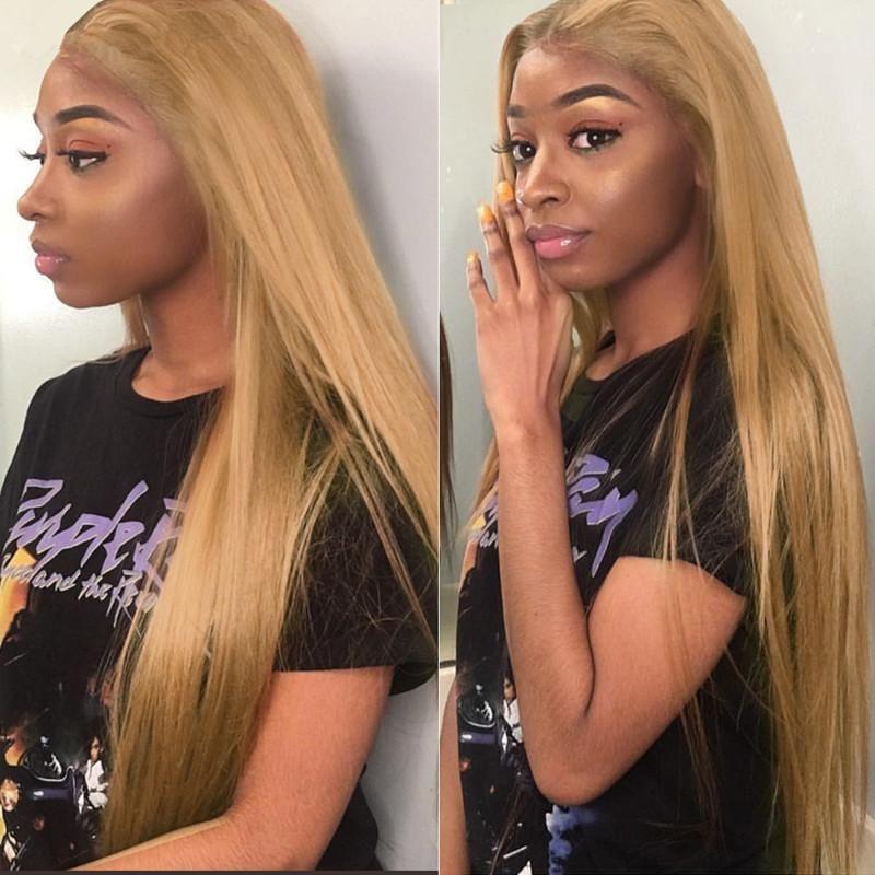 Seda reta # 27 13x6 perucas dianteiras de renda para mulheres negras Virgem Brasileira Honey Loira Cabelo Glueless Laço Completo Cabelo Humano Perucas Bebê Cabelo