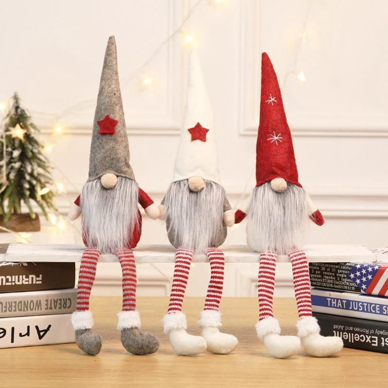 El más barato 3 colores de Navidad divertida Pelusa muñecas de regalo festivo del partido del árbol de navidad que cuelgan regalos del ornamento de Navidad muñecos de peluche para niños