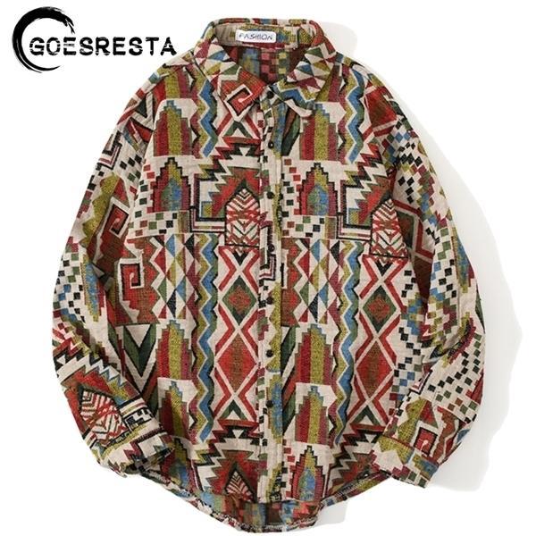 Ретро геометрический узор с длинным рукавом шерстяная рубашка мужчины уличные одеяла бедра загадки рубашки брендов бренда Harajuku повседневная мода мужская рубашка C1222
