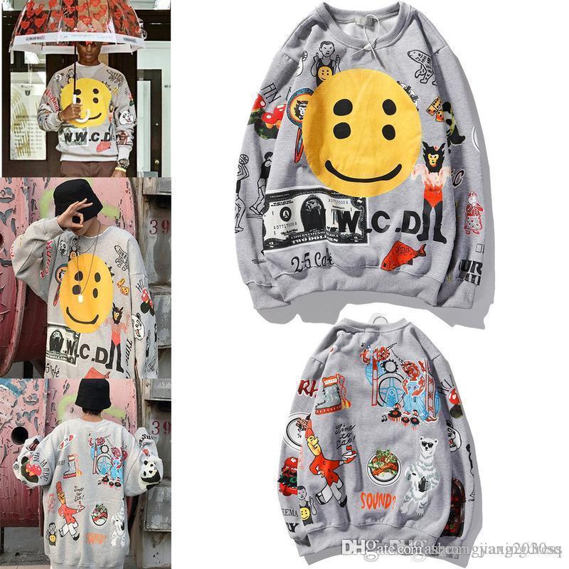 Мода мужчины дизайнер кофты шеи свитера улыбается шаблон лица мульти личностных элементов мужчин и женских хип-хоп мода свитера