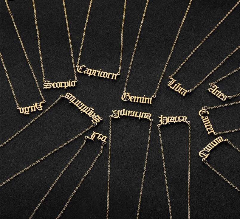 Collana Zodiac Lettera personalizzata Collana Constellation Collane Custom Acciaio inossidabile Old English Collana Regali di gioielli di compleanno