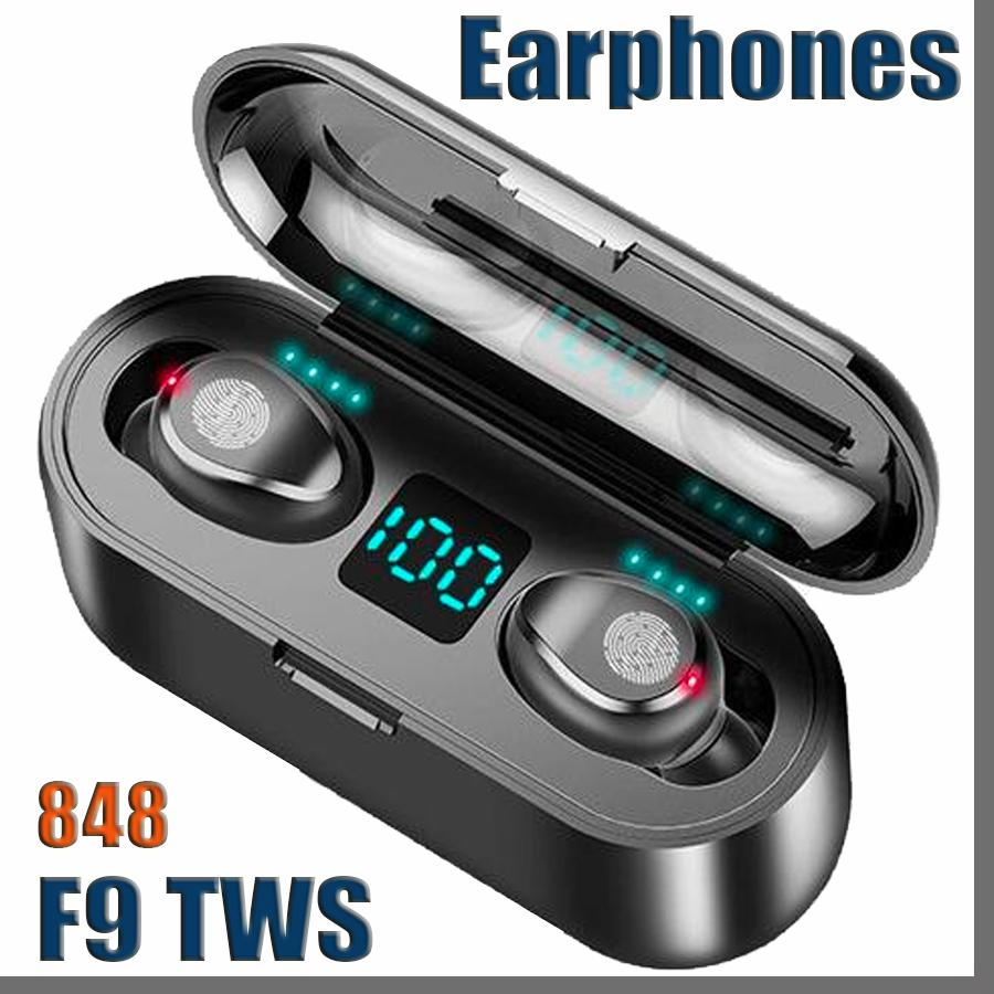 Wireless Earphone Bluetooth V5.0 F9 TWS Wireless Bluetooth Headphone LED Display With 2000mAh Power Bank Headset With Microphon 848D