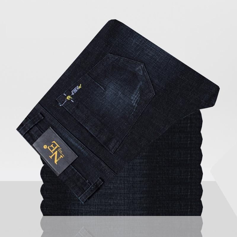 elástica lavado calças juventude negra solta negócios reta masculina de primavera e outono e calça jeans jeans casual para homens J1c4i