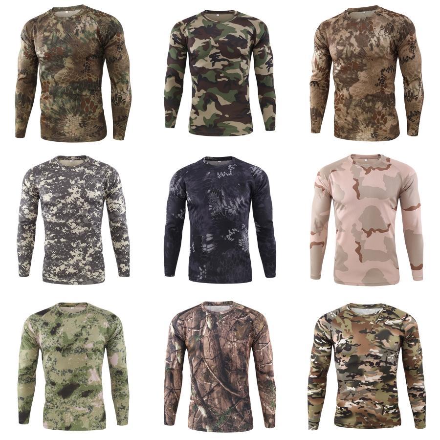 Diseñador para hombre de las camisetas de manga larga Leopard O-Cuello Hombre Tops Primavera Delgado Otoño transpirable hombres de color de las camisetas # 663