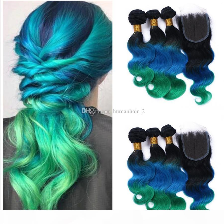 3 Bundles Ombre Brazilian Body Wave Hair With Closure 4Pcs Lot 1B Blue Green Three Tone Ombre Human Hair Extensions With Lace Closure