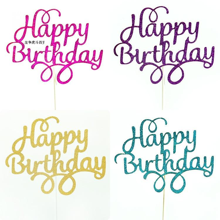10 unids Gittler Feliz Cumpleaños Tortero Topper Bling Sparkle Decoración Signo Feliz Cumpleaños Pastel Topper Cumpleaños Cumpleaños Decoración