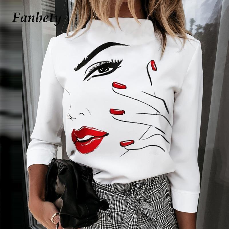 Женские блузки рубашки Элегантные губы печатающие блузка Женщины 2021 Осенняя мода стенда шеи пуловеры топы дамы повседневная кнопка с длинным рукавом Blus