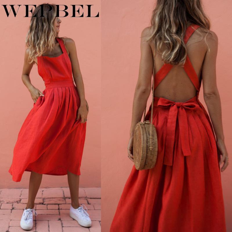 Повседневные платья Wepbel Женская высокая талия бездомный без рукавов спагетти ремешок плиссированные платье летом мода твердый цвет сексуальный лук