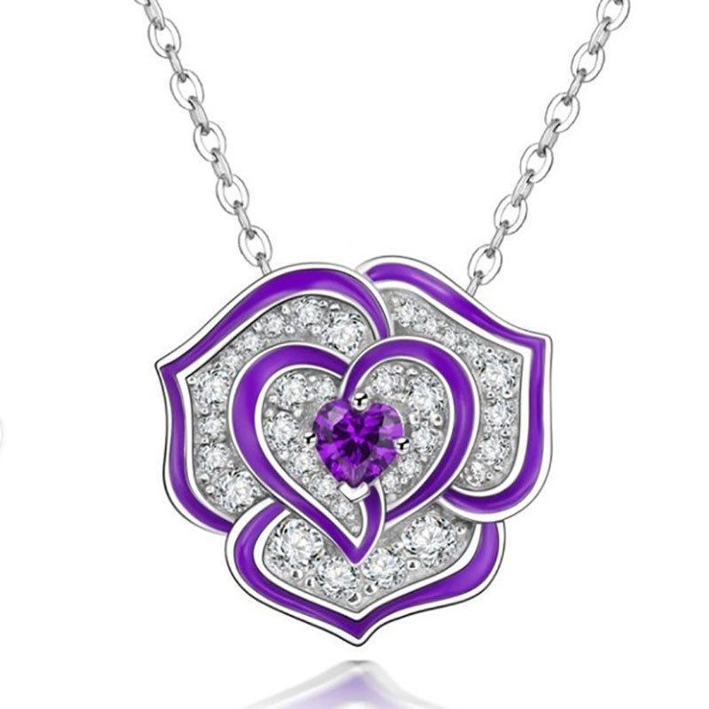 Neue heiße Verkauf Rose Öl Drop Schmuck Halskette Diamantverzierung Für Muttertag