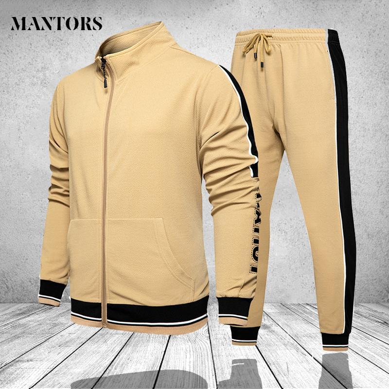 2 piezas de traje de entrenamiento que corre sudadera Broek Sports Set Gym Clothing Men's Sweat Pack Joggers Chandal