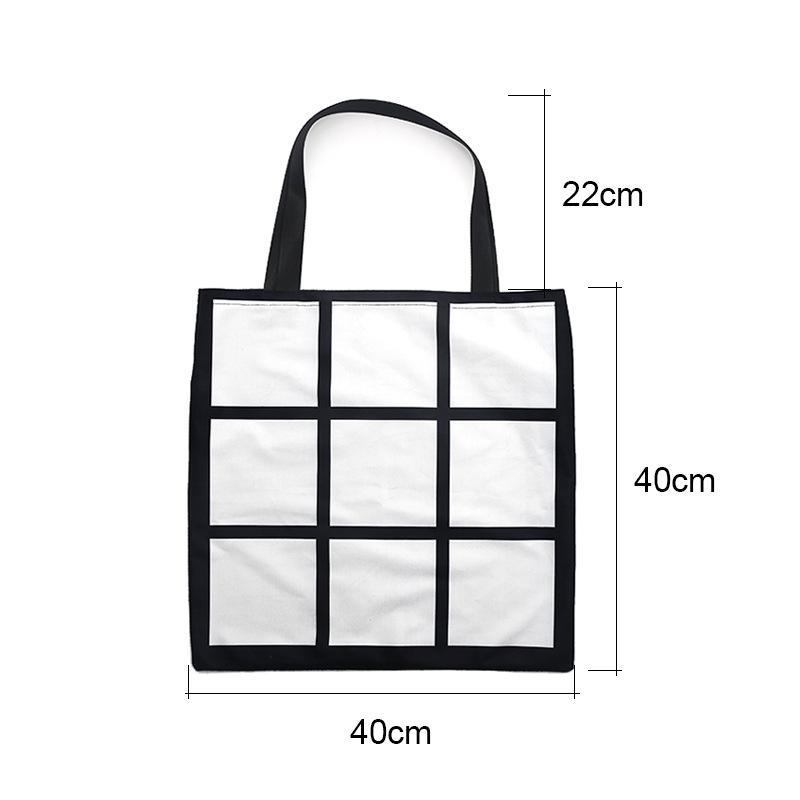 Sublimation Grid Tote Bag Blank White DIY heat transfer shopping bag 9 panels Cloth Frabic reusable Storage gift bag handbag OWC2542